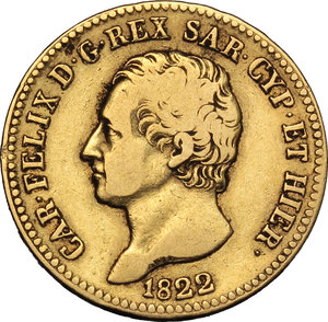 obverse: Regno di Sardegna. Carlo Felice (1821-1831). 20 lire 1822 Torino.    Pag. 46. Mont. 31. AU.    RR.  qBB.
