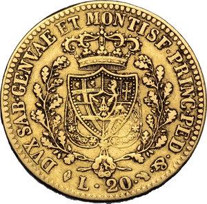 reverse: Regno di Sardegna. Carlo Felice (1821-1831). 20 lire 1822 Torino.    Pag. 46. Mont. 31. AU.    RR.  qBB.