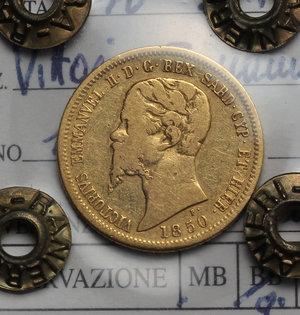 obverse: Regno di Sardegna. Vittorio Emanuele II  (1849-1861). 10 lire 1850 Torino.    Pag.361. AU.    RR. Perizia Ranieri (qBB) MB+/BB.