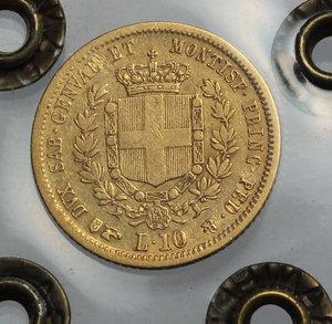 reverse: Regno di Sardegna. Vittorio Emanuele II  (1849-1861). 10 lire 1850 Torino.    Pag.361. AU.    RR. Perizia Ranieri (qBB) MB+/BB.
