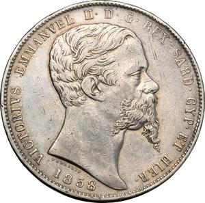 obverse: Regno di Sardegna. Vittorio Emanuele II  (1849-1861). 5 lire 1858 Torino.    Pag. 386. AG.    RR.  BB.