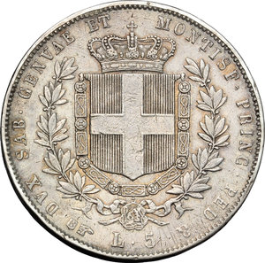 reverse: Regno di Sardegna. Vittorio Emanuele II  (1849-1861). 5 lire 1858 Torino.    Pag. 386. AG.    RR.  BB.