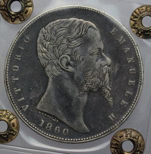 obverse: Re Eletto. Vittorio Emanuele II  (1859-1861). 5 lire 1860 Bologna.    Pag. 433. AG.    RR. Perizia Ranieri (BB). Ritocchi MB+.