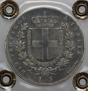 reverse: Re Eletto. Vittorio Emanuele II  (1859-1861). 5 lire 1860 Bologna.    Pag. 433. AG.    RR. Perizia Ranieri (BB). Ritocchi MB+.