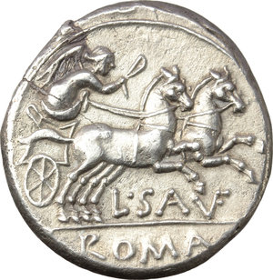 reverse: L. Saufeius.  AR Denarius, 152 BC. Obv. Helmeted head of Roma right, X behind. Rev. Victory in biga right, L. SAVF below horses, ROMA in exergue. Cr. 204/1. B. 1. AR. g. 3.74  mm. 19.00   From a fresh and perfectly detailed reverse die. Minor hair-line flan crack, otherwise EF.