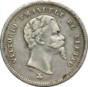 obverse: Re Eletto. Vittorio Emanuele II  (1859-1861). 50 centesimi 1860.    Pag. 443. Mont. 120. AG.      BB.