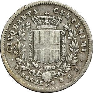 reverse: Re Eletto. Vittorio Emanuele II  (1859-1861). 50 centesimi 1860.    Pag. 443. Mont. 120. AG.      BB.