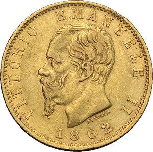 obverse: Regno di Italia. Vittorio Emanuele II (1861-1878). 20 lire 1862.    Pag. 456. AU.      BB.