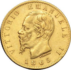 obverse: Regno di Italia. Vittorio Emanuele II (1861-1878). 20 lire 1865.    Pag.459,  Mont.135. AU.      FDC.