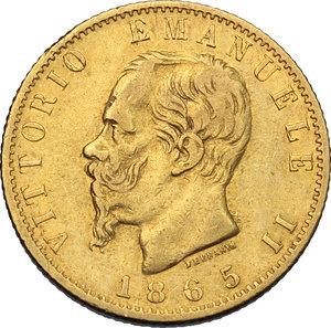 obverse: Regno di Italia. Vittorio Emanuele II (1861-1878). 20 lire 1865.    Pag. 459. AU.      BB.