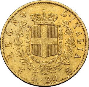 reverse: Regno di Italia. Vittorio Emanuele II (1861-1878). 20 lire 1865.    Pag. 459. AU.      BB.