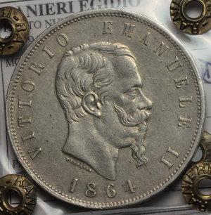 obverse: Regno di Italia. Vittorio Emanuele II (1861-1878). 5 lire 1864 Napoli.    Pag. 485. AG.    R. Perizia Ranieri (BB/SPL).  BB+.
