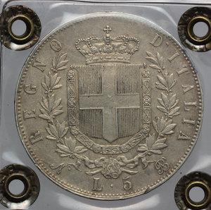 reverse: Regno di Italia. Vittorio Emanuele II (1861-1878). 5 lire 1864 Napoli.    Pag. 485. AG.    R. Perizia Ranieri (BB/SPL).  BB+.