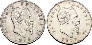 obverse: Regno di Italia. Vittorio Emanuele II (1861-1878). Lotto di 2 monete da 5 lire 1875 Roma.    Pag. 499. Mont. 184. AG.    NC.