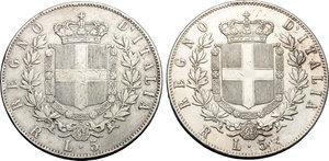 reverse: Regno di Italia. Vittorio Emanuele II (1861-1878). Lotto di 2 monete da 5 lire 1875 Roma.    Pag. 499. Mont. 184. AG.    NC.