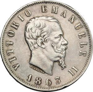 obverse: Regno di Italia. Vittorio Emanuele II (1861-1878). 2 lire 1863 Torino.    Pag. 507. AG.    NC.  BB.