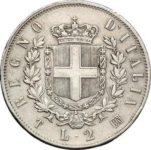 reverse: Regno di Italia. Vittorio Emanuele II (1861-1878). 2 lire 1863 Torino.    Pag. 507. AG.    NC.  BB.