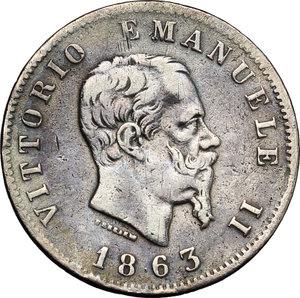 obverse: Regno di Italia. Vittorio Emanuele II (1861-1878). Lira 1863 T.    Pag. 515. Mont. 203. AG.    R.  BB.