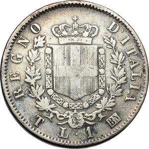 reverse: Regno di Italia. Vittorio Emanuele II (1861-1878). Lira 1863 T.    Pag. 515. Mont. 203. AG.    R.  BB.