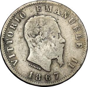 obverse: Regno di Italia. Vittorio Emanuele II (1861-1878). Lira 1867 T.    Pag. 519. Mont. 205. AG.    RR.  qBB.