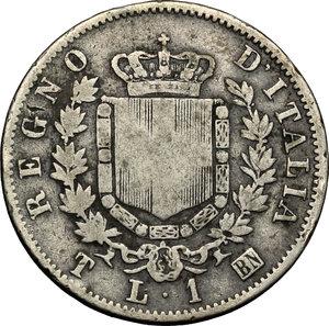 reverse: Regno di Italia. Vittorio Emanuele II (1861-1878). Lira 1867 T.    Pag. 519. Mont. 205. AG.    RR.  qBB.