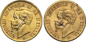 obverse: Regno di Italia. Vittorio Emanuele II (1861-1878). Lotto di due monete da 1 centesimo 1862 Napoli.    Pag. 564. Mont. 262. CU dorato.    R.  BB/BB+.