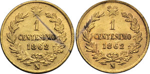 reverse: Regno di Italia. Vittorio Emanuele II (1861-1878). Lotto di due monete da 1 centesimo 1862 Napoli.    Pag. 564. Mont. 262. CU dorato.    R.  BB/BB+.