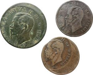 obverse: Regno di Italia. Vittorio Emanuele II (1861-1878). Lotto di tre errori di coniazione.     AE.