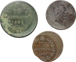 reverse: Regno di Italia. Vittorio Emanuele II (1861-1878). Lotto di tre errori di coniazione.     AE.
