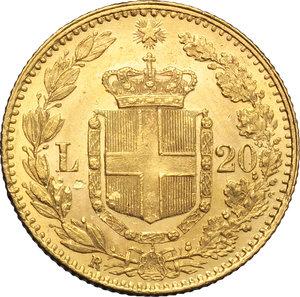 reverse: Regno di Italia. Umberto (1878-1900). 20 lire 1882.    Pag. 578. Mont.16. AU.      FDC.