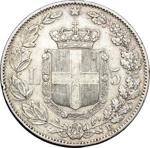reverse: Regno di Italia. Umberto I (1878-1900). 5 lire 1878.    Pag. 589. AG.    RR.  qBB.