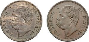 obverse: Regno di Italia. Umberto I (1878-1900). Lotto di due monete da 5 centesimi: 1895 e 1896.    Pag. 617 e 618. AE.    R.  SPL.