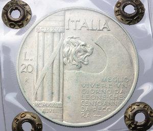 reverse: Regno di Italia. Vittorio Emanuele III (1900-1943). 20 lire 1928 A. VI.    Pag. 680.  Mont.76. AG.    NC. Perizia Bazzoni ( Bel BB).   Fondi lucenti Bel BB.
