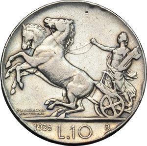 reverse: Regno di Italia. Vittorio Emanuele III (1900-1943). 10 lire 1926.    Pag. 691. Mont. 87. AG.    R.  BB.