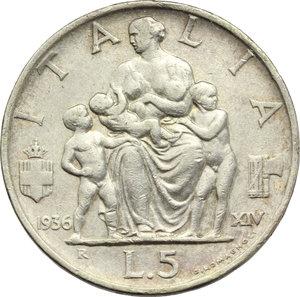 reverse: Regno di Italia. Vittorio Emanuele III (1900-1943). 5 lire 1936.    Pag. 719. Mont. 133. AG.     Bel BB.