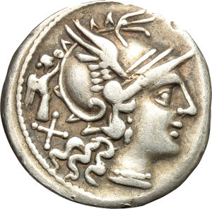 obverse: C. Terentius Lucanus.  AR Denarius, 147 BC. Obv. Helmeted head of Roma right; behind, X and small Victory. Rev. The Dioscuri galloping right; below horses, C. TER.LVC. In exergue, ROMA. Cr. 217/1. B. 10. AR. g. 3.59  mm. 18.00    VF.
