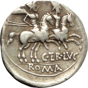 reverse: C. Terentius Lucanus.  AR Denarius, 147 BC. Obv. Helmeted head of Roma right; behind, X and small Victory. Rev. The Dioscuri galloping right; below horses, C. TER.LVC. In exergue, ROMA. Cr. 217/1. B. 10. AR. g. 3.59  mm. 18.00    VF.