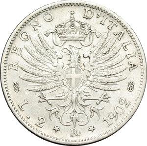 reverse: Regno di Italia. Vittorio Emanuele III (1900-1943). 2 lire 1902.    Pag. 726. Mont. 141. AG.    R.  BB.
