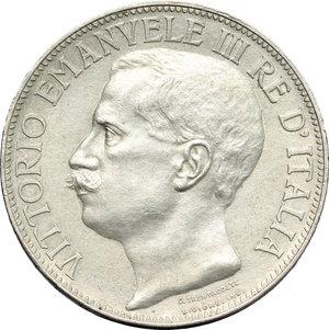 obverse: Regno di Italia. Vittorio Emanuele III (1900-1943). 2 lire 1911  Cinquantenario .    Pag. 736. Mont. 152. AG.     Colpetto sul ciglio. SPL.