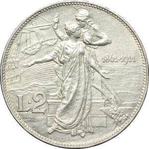reverse: Regno di Italia. Vittorio Emanuele III (1900-1943). 2 lire 1911  Cinquantenario .    Pag. 736. Mont. 152. AG.     Colpetto sul ciglio. SPL.
