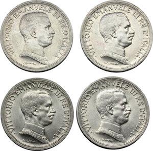 obverse: Regno di Italia. Vittorio Emanuele III (1900-1943). Lotto di 4 monete da 2 lire: 1914, 1915, 1916, 1917.    Pag. 737-740. Mont. 154-157. AG.    R.  SPL-FDC.