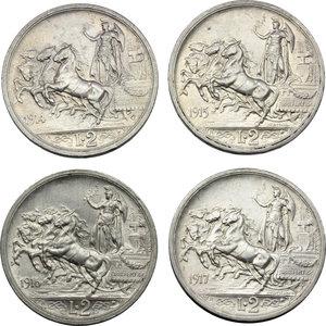 reverse: Regno di Italia. Vittorio Emanuele III (1900-1943). Lotto di 4 monete da 2 lire: 1914, 1915, 1916, 1917.    Pag. 737-740. Mont. 154-157. AG.    R.  SPL-FDC.