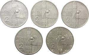 obverse: Regno di Italia. Vittorio Emanuele III (1900-1943). Lotto di cinque buoni da due lire: 1923,1924,1925 (BB) ,1926 (qBB) e 1927 (MB+).    Pag. 741,742,743,744 e 745. NI.    R.