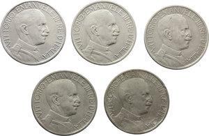 reverse: Regno di Italia. Vittorio Emanuele III (1900-1943). Lotto di cinque buoni da due lire: 1923,1924,1925 (BB) ,1926 (qBB) e 1927 (MB+).    Pag. 741,742,743,744 e 745. NI.    R.