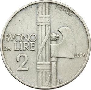 reverse: Regno di Italia. Vittorio Emanuele III (1900-1943). Buono da 2 lire 1926.    Pag. 744. Mont. 164. NI.    R.  BB.