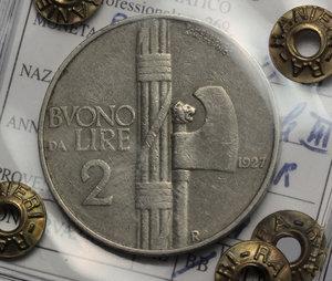 reverse: Regno di Italia. Vittorio Emanuele III (1900-1943). Buono da 2 lire 1927.    Pag. 745. NI.    RR. Perizia Ranieri ((BB) qBB.