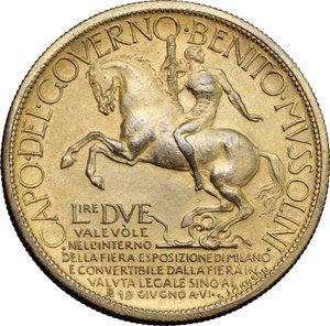 reverse: Regno di Italia. Vittorio Emanuele III (1900-1943). 2 lire 1928 Fiera di Milano.    Mont. 09. Metallo dorato.      qSPL.