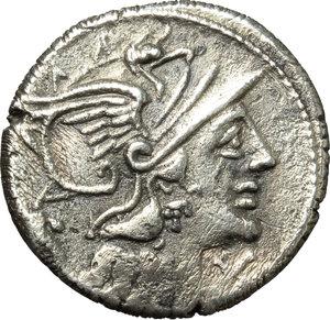 obverse: L. Cupiennius.  AR Denarius, 147 BC. Obv. Helmeted head of Roma right; below chin, X; behind, cornucopiae. Rev. The Dioscuri galloping right; below horses, L. CVP; in exergue, ROMA. Cr. 218/1. B. 1. AR. g. 3.68  mm. 18.00   Roughness. Lightly toned. VF.