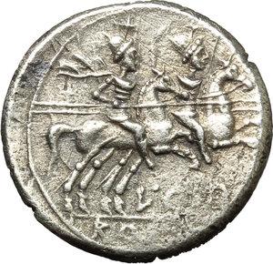reverse: L. Cupiennius.  AR Denarius, 147 BC. Obv. Helmeted head of Roma right; below chin, X; behind, cornucopiae. Rev. The Dioscuri galloping right; below horses, L. CVP; in exergue, ROMA. Cr. 218/1. B. 1. AR. g. 3.68  mm. 18.00   Roughness. Lightly toned. VF.
