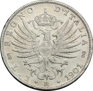 reverse: Regno di Italia. Vittorio Emanuele III (1900-1943). Lira 1901.    Pag. 763. Mont. 188. AG.     Bel BB.